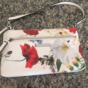Dana Buckman poppy print couple white leather bag